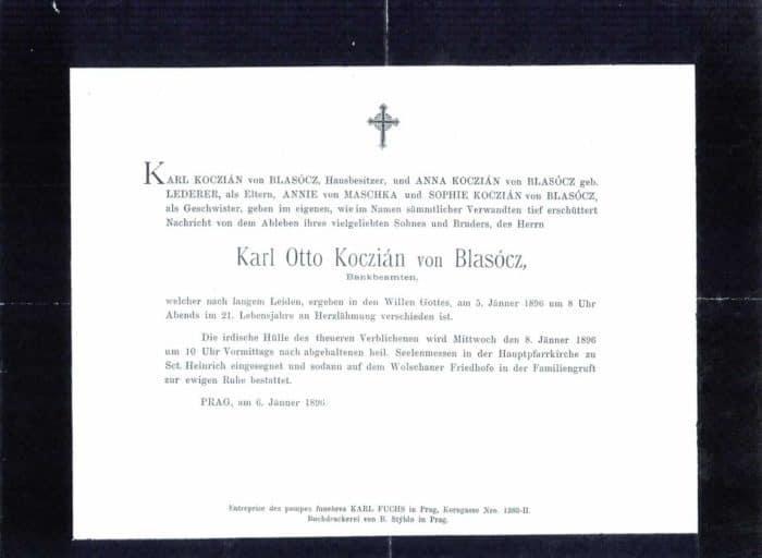 Parte Karl Otto Koczián von Blasócz 1896