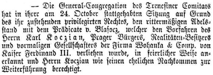 Renobilitierung Karl Koczian (Neue Freie Presse vom 29.11.1894)