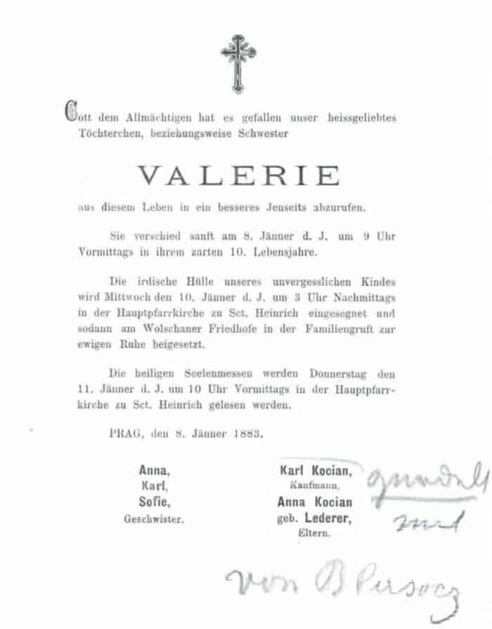 Parte Valerie Kocian 1883