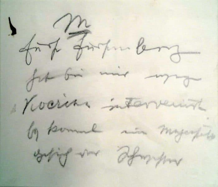 Zettel unbekannten Ursprungs aus dem Akt:
