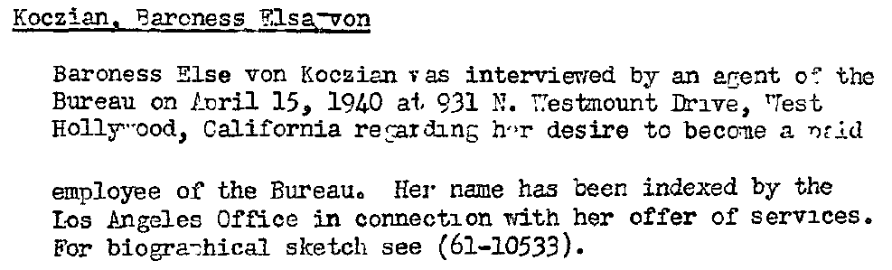 Else von Koczian Bewerbung FBI